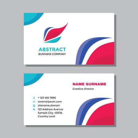 Business visit card template with logo - concept design. Abstract shape logo branding. Vector illustration.