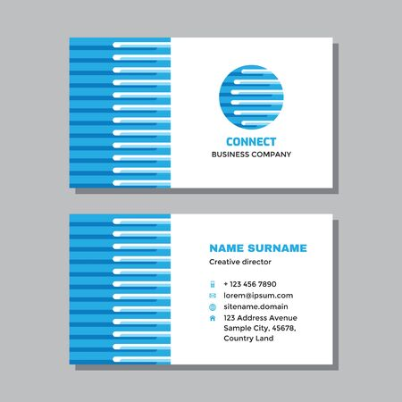 Business visit card template with logo - concept design. Computer network technology logo. Vector illustration.