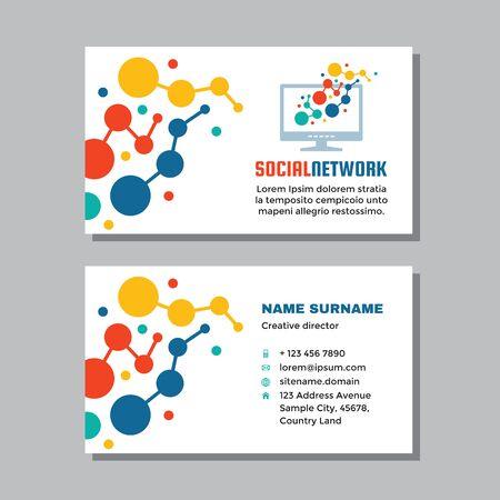 Business visit card template with logo - concept design. Computer network technology logo. Social media logo. Vector illustration. Ilustração
