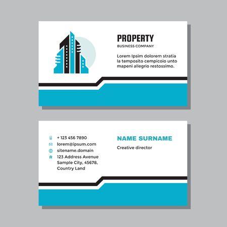 Business visit card template with logo - concept design. Real estate property management logo. Vector illustration.