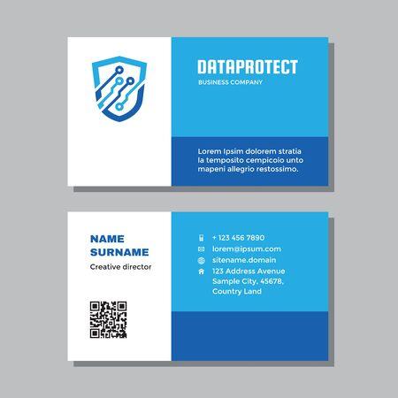 Business visit card template with logo - concept design. Data protection guard brand. Vector illustration. Ilustração