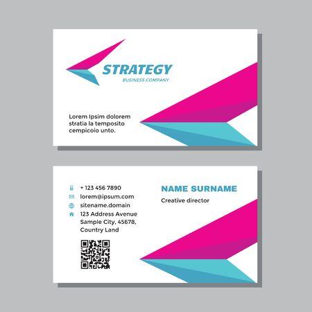 Business visit card template with logo - concept design. Wing delivery logo brand. Vector illustration. Ilustração