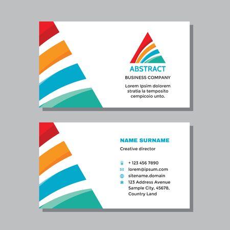 Business visit card template with logo - concept design. Triangle pyramid success logo branding. Vector illustration. Ilustração