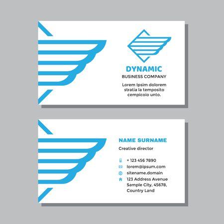 Business visit card template with logo - concept design. Wing delivery transport logo brand. Vector illustration. Ilustração
