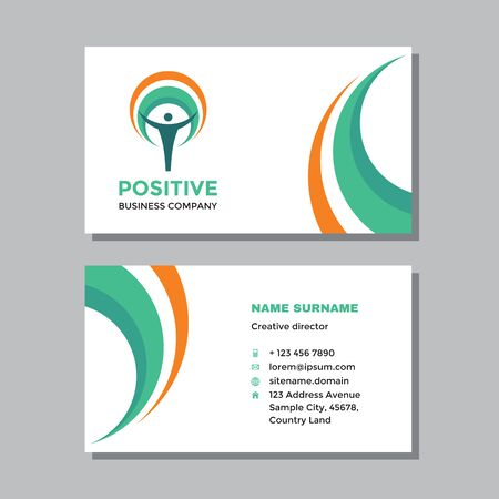 Business visit card template with logo - concept design. Positive healthcare. Vector illustration.