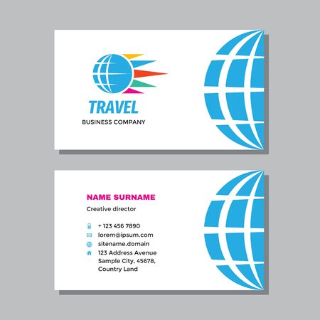 Business visit card template with logo - concept design. Globe travel branding. Vector illustration. Ilustração