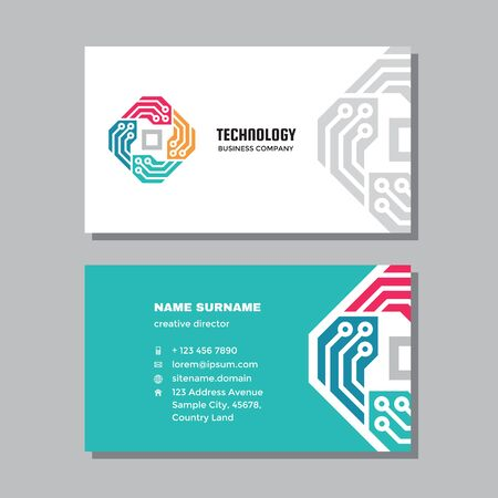 Business visit card template with logo - concept design. Network computer technology. Vector illustration.