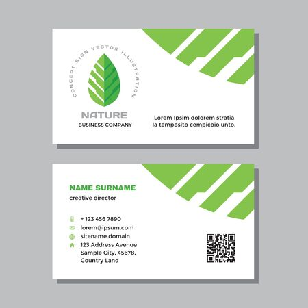 Business visit card template with logo - concept design. Nature green leaf branding. Vector illustration.