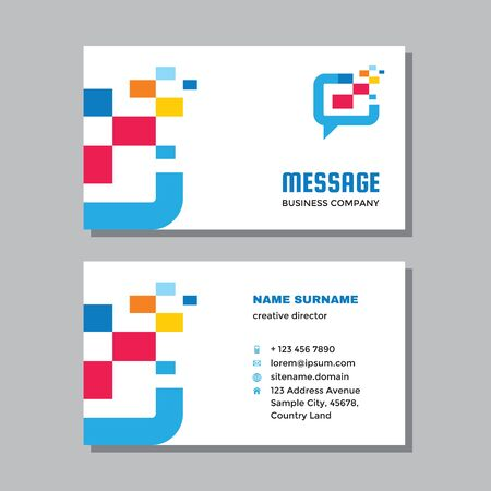 Business visit card template with logo - concept design. Communication message consult branding. Vector illustration.
