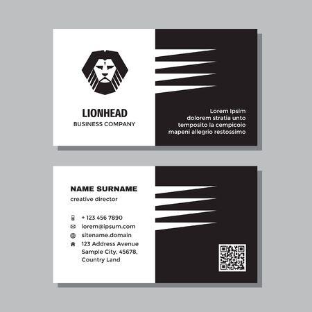 Business visit card template with logo - concept design. Lion head black & white colors branding. Vector illustration.