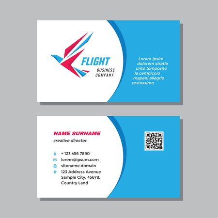 Business visit card template with logo - concept design. Bird wing branding. Vector illustration.