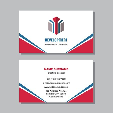 Business visit card template with logo - concept design. Vector illustration.
