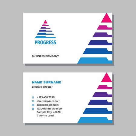 Business visit card template with logo - concept design. Triangle pyramid branding. Vector illustration. Ilustração