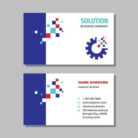Business visit card template with logo - concept design. Gear SEO solution branding. Vector illustration.