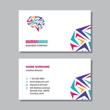 Business visit card template with logo - concept design. Human brain, creative idea branding. Vector illustration. Ilustração