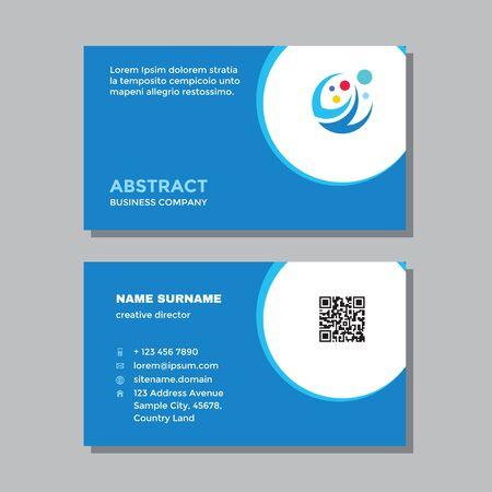 Business visit card template with logo - concept design. Abstract positive branding. Vector illustration. Ilustração