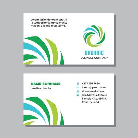 Business visit card template with logo - concept design. Nature organic branding. Vector illustration. Ilustração