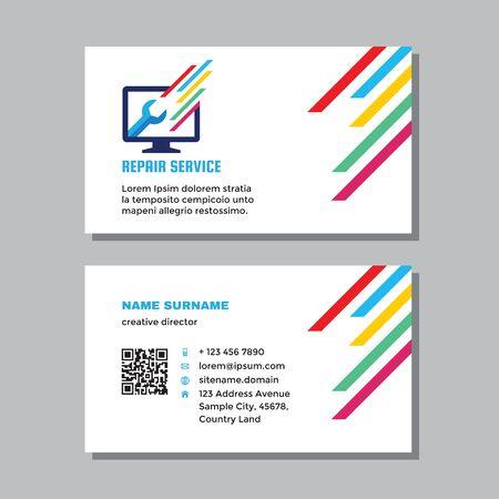 Business visit card template with logo - concept design. Computer repair service branding. Vector illustration. Ilustração