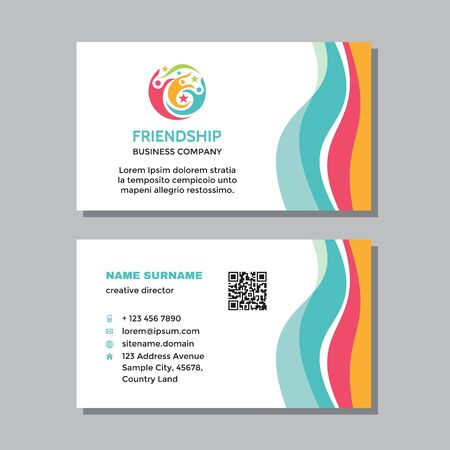 Business visit card template with logo - concept design. Teamwork friendship positive branding. Vector illustration.
