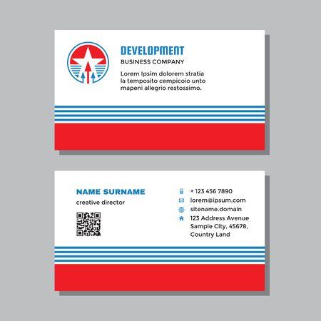 Business visit card template with logo - concept design. Arrows growth market exchange brand. Vector illustration. Ilustração