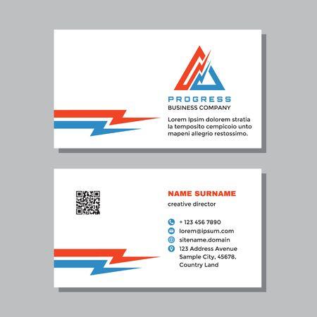 Business visit card template with logo - concept design. Power energy lightning branding. Vector illustration. Ilustração