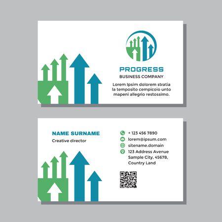 Business visit card template with logo - concept design. Progress sign. Arrows growth market exchange brand. Vector illustration.