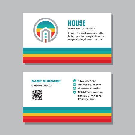 Business visit card template with logo - concept design. Real estate building house branding. Vector illustration.