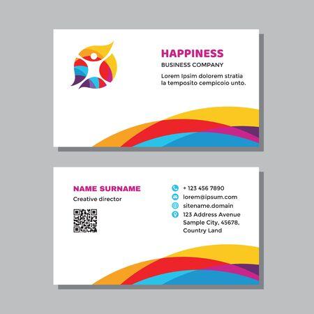 Business visit card template with logo - concept design. Positive healthcare branding. Vector illustration.