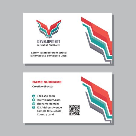 Business visit card template with logo - concept design. Abstract dynamic wing branding symbol. Vector illustration.