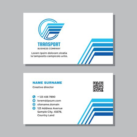 Business visit card template with logo - concept design. Wing delivery transport brand. Vector illustration.