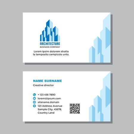 Business visit card template with logo - concept design. Architecture building sign. Real estate property management branding. Vector illustration. Ilustração