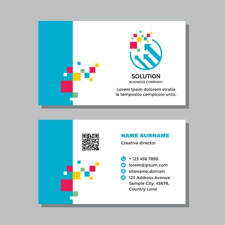 Business visit card template with logo - concept design. Arrows growth market exchange brand. Solution sign. Vector illustration.