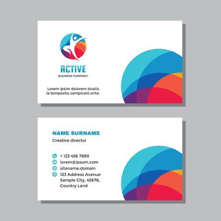 Business visit card template with logo - concept design. Positive healthcare branding. Active human sign. Vector illustration. Ilustração