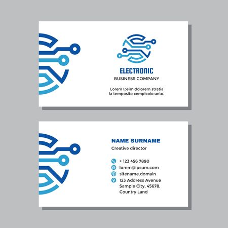 Business visit card template with logo - concept design. Network computer digital technology. Electronic data sign. Vector illustration.