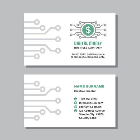 Business visit card template with logo - concept design. Digital money branding. Electronic cryptocurrency dollar. Mobile speed payment. Vector illustration. Ilustração