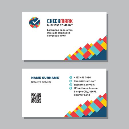 Business visit card template with logo - concept design. Check mark branding symbol. Time clock watch sign. Vector illustration.