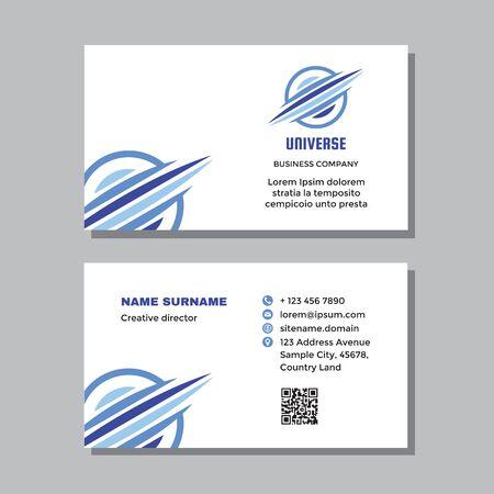 Modèle de carte de visite d'entreprise avec logo - conception de concept. Signe de la planète Saturne de l'univers. Marque de technologie électronique de réseau informatique. Illustration vectorielle.
