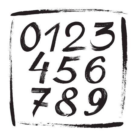Numbers sketch brush handwritten style design. Figures calligraphy vector illustration. Vektorové ilustrace
