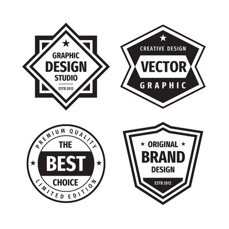 Design graphic badge logo vector set in retro vintage style. Original brand design. The best choice. Emblem template collection. Concept label.