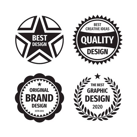 Design graphic badge logo vector set in retro vintage style. Original brand design. The best creative ideas. Emblem template collection.