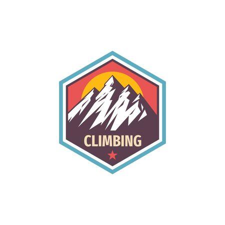 Climbing extreme sport - concept badge design. Mountains hiking creative logo. Adventue expedition outdoors emblem. Vector illustration. Illustration