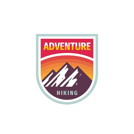 Adventure mountain hiking - concept badge design. Climbing creative logo. Expedition outdoors emblem. Vector illustration. Illustration
