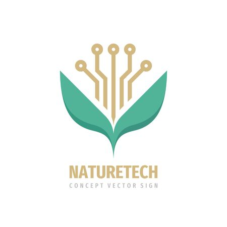 Eco technology sprout flower with green leaves - concept logo design. Nature electronic logo sign. Vector illustration. Illustration