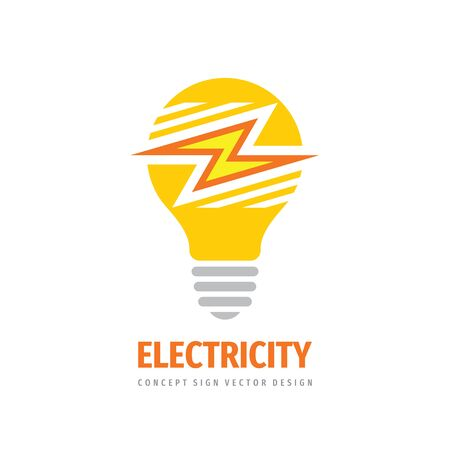 Electricity logo tempale design. Electric lightbulb concept sign. Lightning creative logo symbol. Vector illustration.