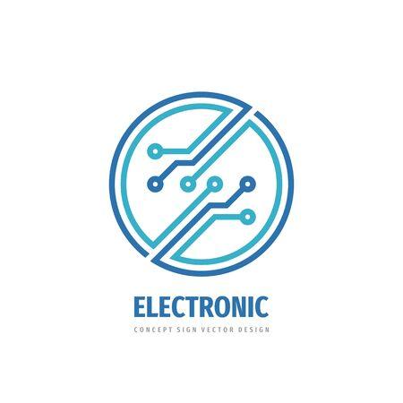 Diseño de logotipo de tecnología electrónica. Icono de logotipo de vector de red informática.