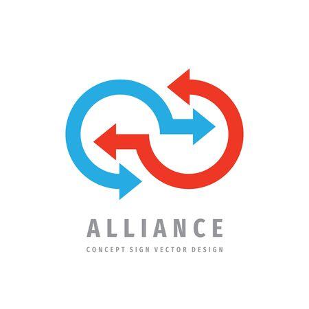 Diseño de plantilla de logotipo de comunicación de alianza. Signo de logotipo de vector de negocio de concepto de cooperación.