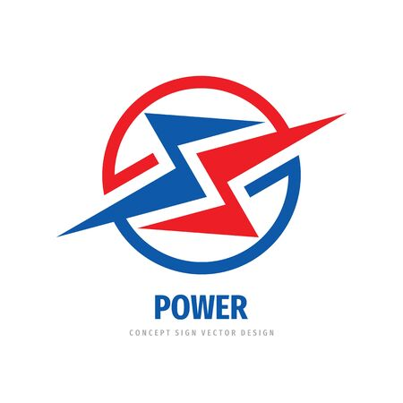 Power energy lightning - concept business logo template vector illustration. Abstract shapes in circle creative logo sign. Cooperation logo symbol. Graphic design element.