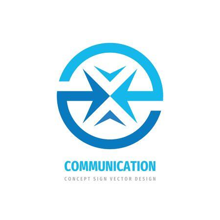 Communiction business logo design. Abstract arrows in circle - creative logo sign. Development strategy logo symbol.