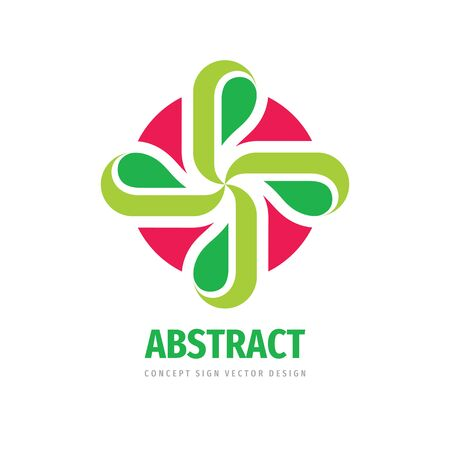Nature concept logo design. Cross with green leaves - creative sign. Floral logo symbol. Health care logo icon. Vector illustration. Vectores