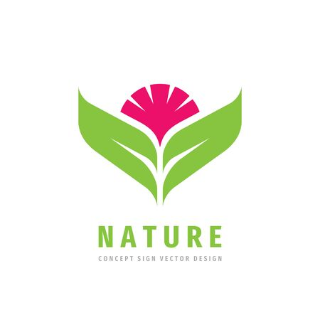 Nature concept logo design. Red flower with green leaves - creative logo sign. Floral logo symbol. Vector illustration. Vectores